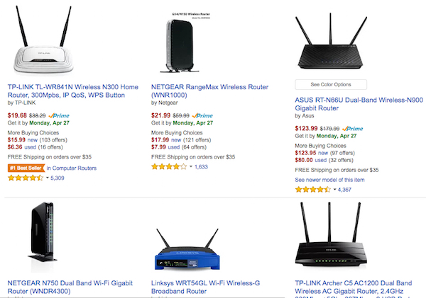 Wireless routers cost